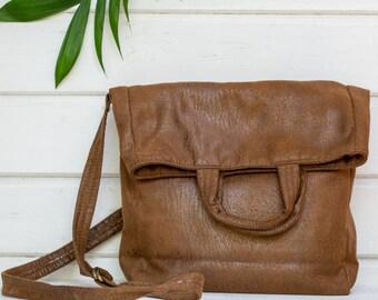 Vegan tas, vouw Over portemonnee, Vegan handtassen, Satchel handtassen, Cross body tas, vrouwen tassen, Tote tassen, Brown Sac tas bruin