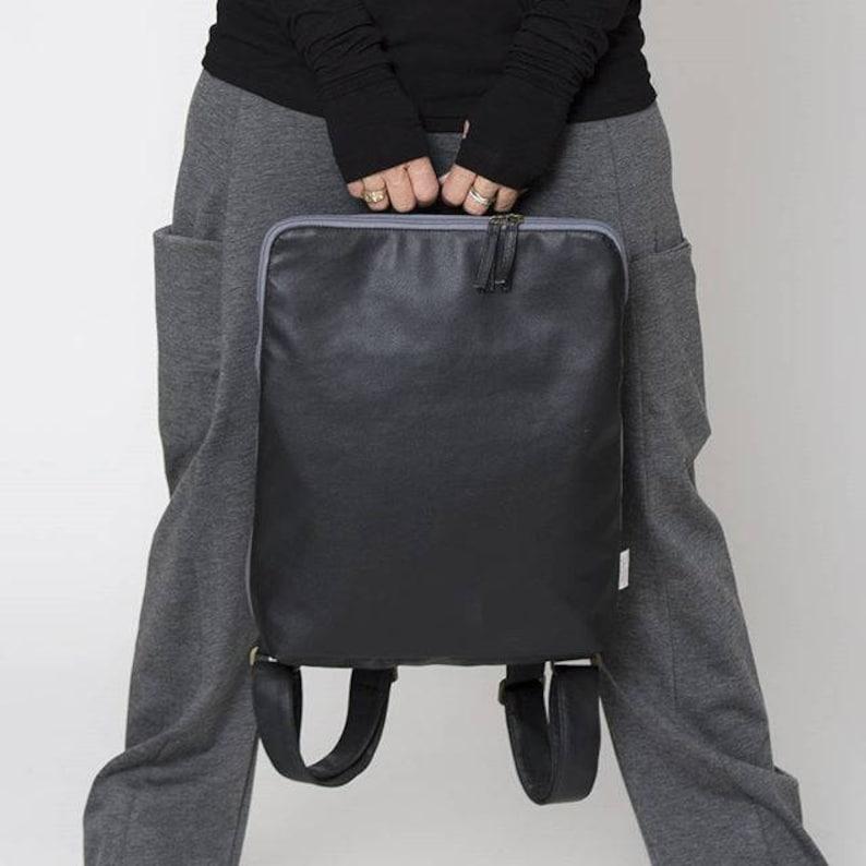 Vegan Backpack Black Backpack Minimalist Laptop Bag Women  ea0d33cad00e7