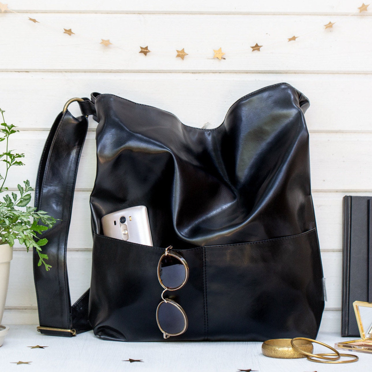 861b1cefc6 Black Hobo Bag Women Shoulder Bags Vegan Handbags Crossbody