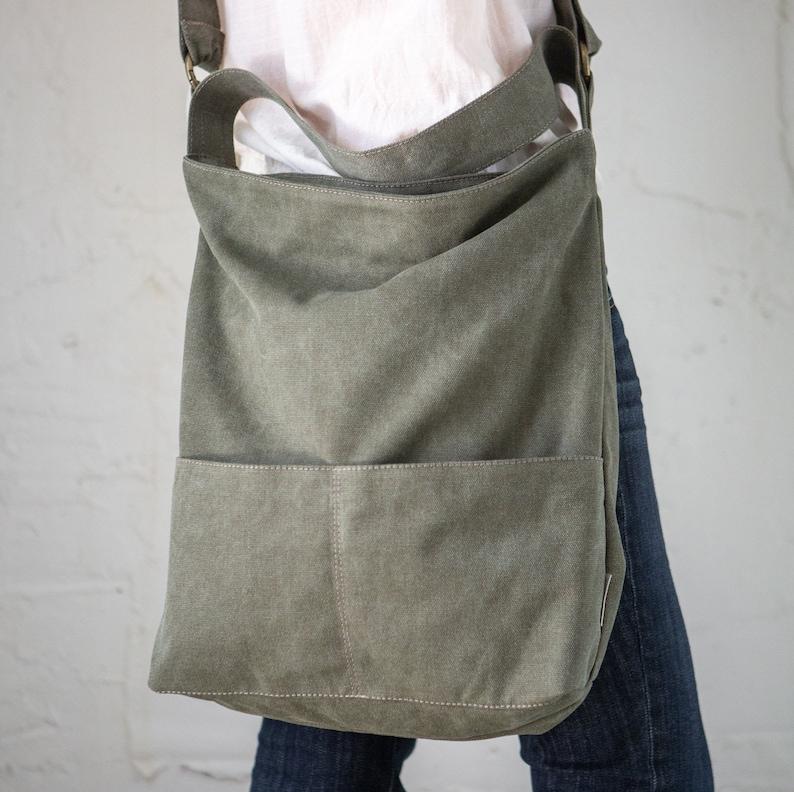 09b6f0244086 Canvas Bag, Women Cross Body Bags, Canvas Shoulder bag, Vegan Purse,  Messenger bag, Canvas Tote, Canvas Handbags, Army Green Crossbody