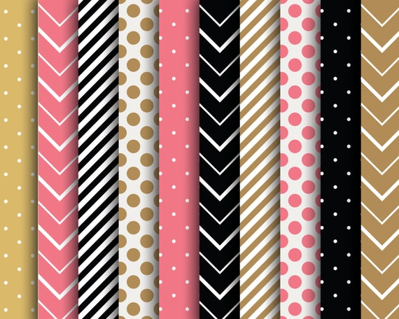 60 Off Sale Digital Papers Scrapbooking Stripes Polka Dots Chevron Pink Black Brown Scrapbook Supplies Papers By The Paper Pegasus Catch My Party