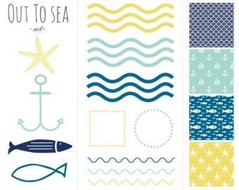 60% OFF SALE Digital Scrapbook Paper, Clip Art, Borders, Frames  Ocean, Sea, Fish, Starfish, Anchors, Boats
