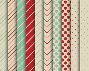 60% OFF SALE Digital Papers  Red Green Stripes  Christmas Scrapbook Papers  Merry Christmas  Backgrounds  Kraft Paper