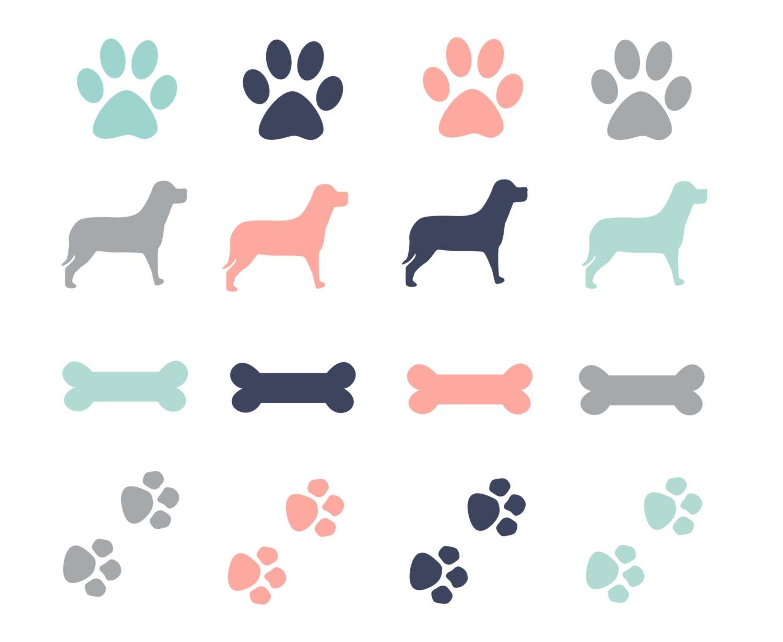 60 Off Sale Paw Prints Dogs Clipart Dog Bone Clip Art Etsy