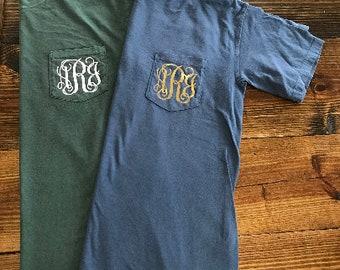 9e7b8e3d Monogrammed Comfort Color Pocket T-shirt Short Sleeve, comfort color tee