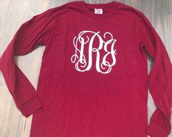 Comfort Color Long Sleeve Large monogrammed T-shirts, comfort color plain long sleeve monogrammed tee