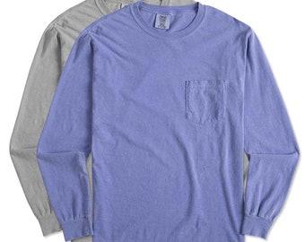 BLANK Comfort Color Long Sleeve Pocket t-shirts, comfort color pocket blank tee