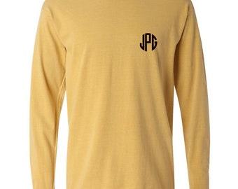 Monogrammed Plain (No Pocket) Comfort Color Long Sleeve  t-shirts, comfort color