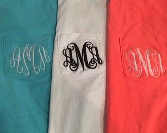 Monogrammed  Comfort Color Pocket T-shirt Short Sleeve