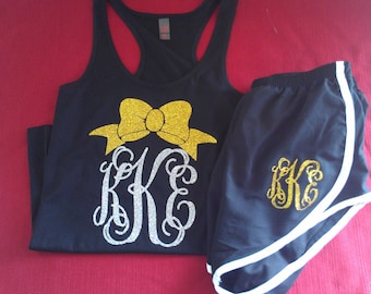 Monogrammed Bow Shorts and Tank Set.