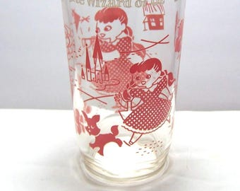 1950's Vintage Wizard Of Oz Dorothy and Toto Drinking Glass Swift Peanut Butter Glass