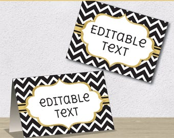 Editable PDF Printable - Black Chevron and Gold - Label / Sticker / Tent Card / Tags / Place Card - DIY