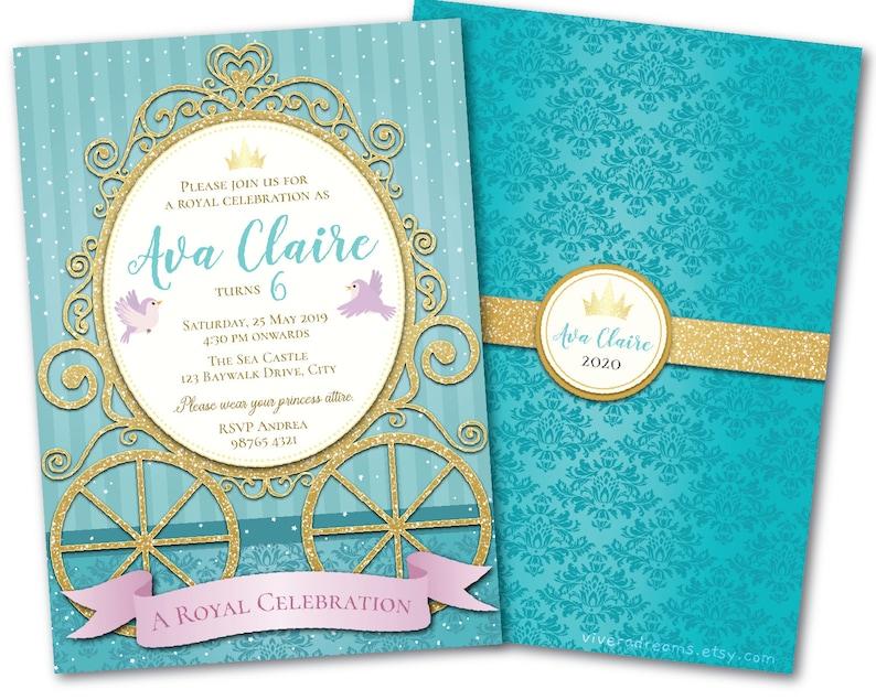 Princess Cinderella Birthday Invitation - Royal Carriage - Aquamarine /  Mint / Blue Green / Gold - Instant Editable Download