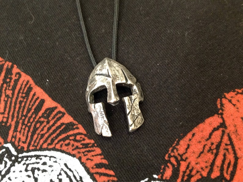 Spartan Helmet Sterling Silver Necklace Personalized Gift image 0