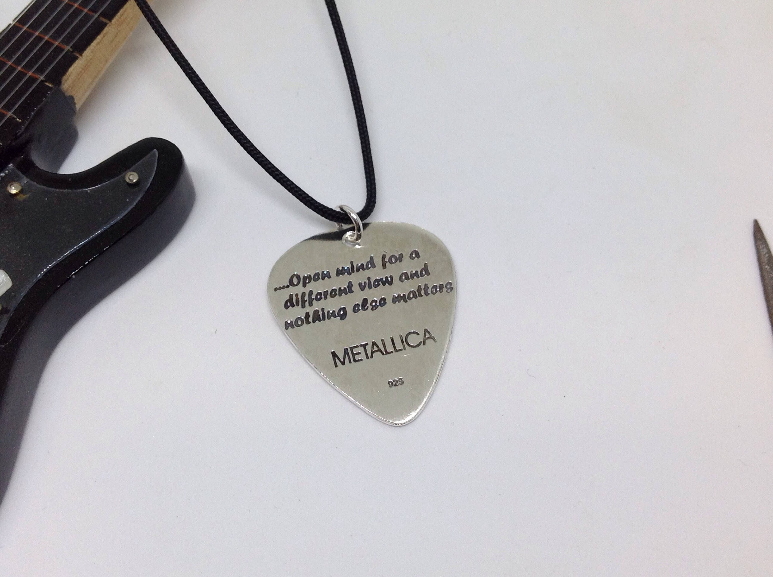 Handmade Silver Guitar Pick of Metallica Personalize handmade