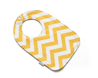 Baby Bib || Chevron Yellow || Fleece Backing