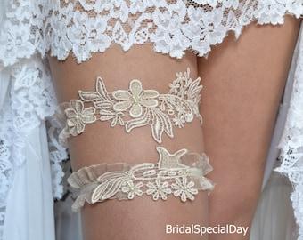 Dusky pink lace nude champagne satin garter pearls garter vintage style wedding garter personalized garter