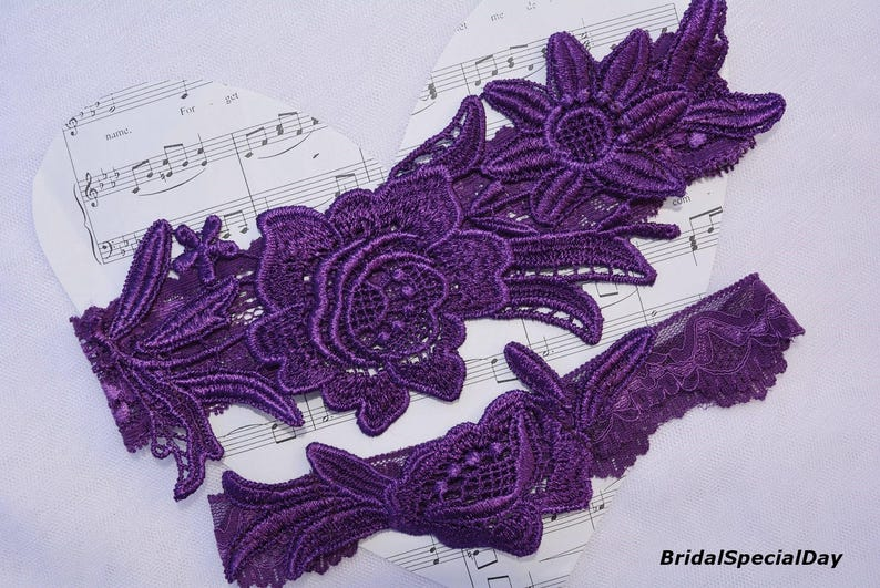 Bridal Garter Set Bridal Garter Set Wedding Garter Belt Purple Lingerie Purple Wedding Garter Purple Bridal Garter Plum Bridal Garter