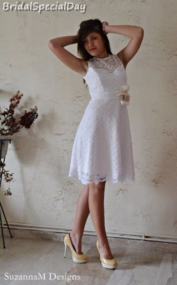 Tea Dress 1950 Dress Length Wedding Wedding Simple White Dress Short Dress Dress Sleeves Cap SALE Wedding Lace Inspired Dress Dress ngzpBt