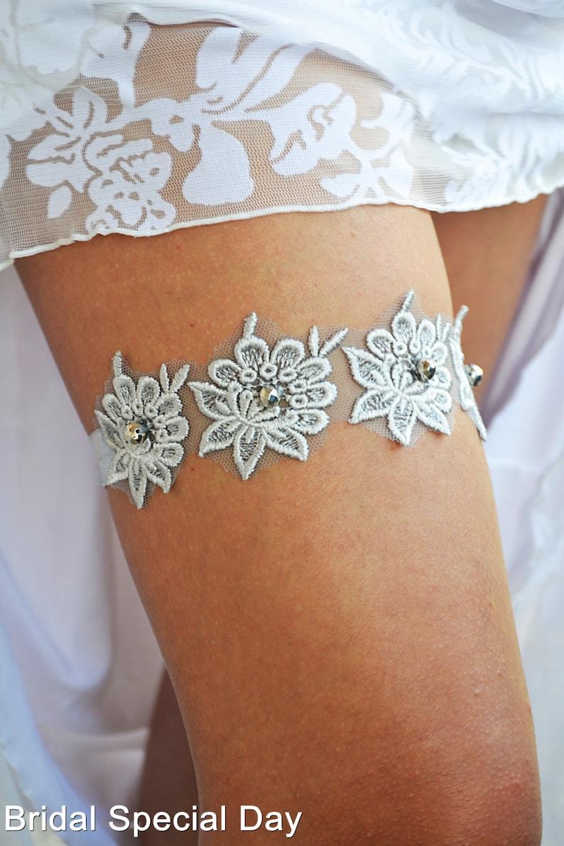 Wedding Garter Set Grey Lace For Brides Wedding Garters Bridal Grey Lace Garter Handmade Garter Silver For Wedding Gray Set Of Garter Belt