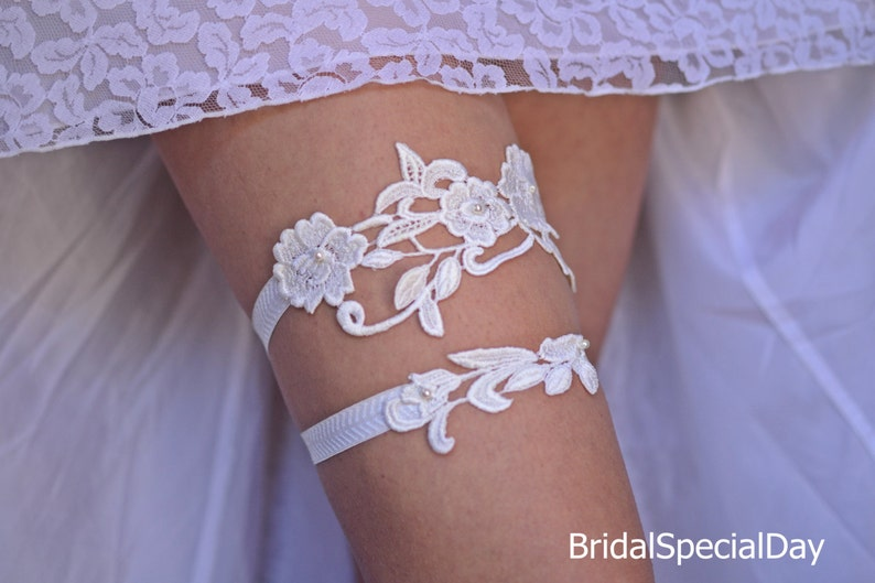 Bridal Lace Appliques Elastic Summer Bohemian Garter Set Belt ivory Garter wedding Ivory Flower Lace Pearls Wedding Garter Set For Brides