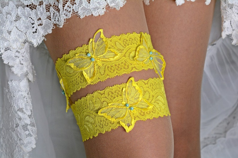 Butterfly Garters Bridal Wedding Garters Lace Garter Set Handmade Garters Yellow Lace Bridal Garter Set For Wedding Bride Gift Yellow