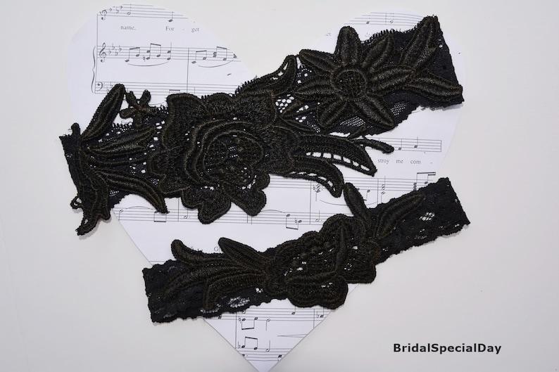 Flower Lace Garter Black Bridal Gift Bridal Accessories Handmade Wedding Black Lace Wedding Garter Set Bridal Garter Black For Brides