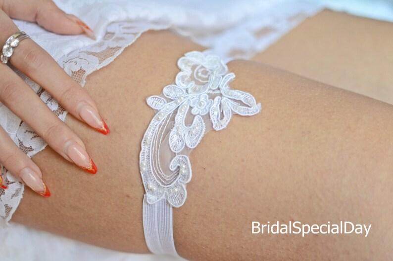 Bridal Garter Wedding Garter White Garter Applique Garter Beaded Garter Pearl Garter Handmade Garter Garter Garter Garter Belt