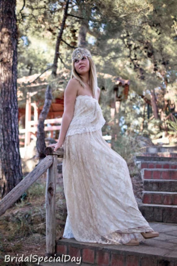 Dress Wedding Gown Wedding SALE Dress Wedding Gown Strapless Handmade Bohemian Lace Cream Gown Dress Dress Wedding Gown Βοhο Long rqfInfR