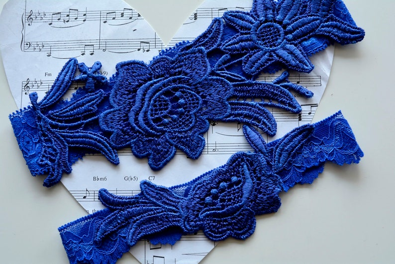 Cobalt Blue Garter Blue Garter Belt Bridal Garter Blue Wedding Gift Blue Something Blue Wedding Clothing Garter Set Blue Lace Garter