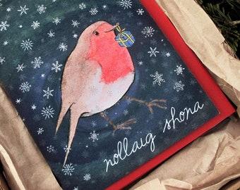 Cártaí Nollag as Gaeilge / Pack of 6, cute animal Christmas cards in Irish, Nollaig Shona, Merry Christmas in Irish