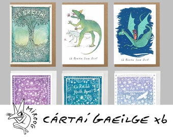 Set of 6 Irish Language Cards, Cártaí Gaeilge, choose any 6 greeting cards