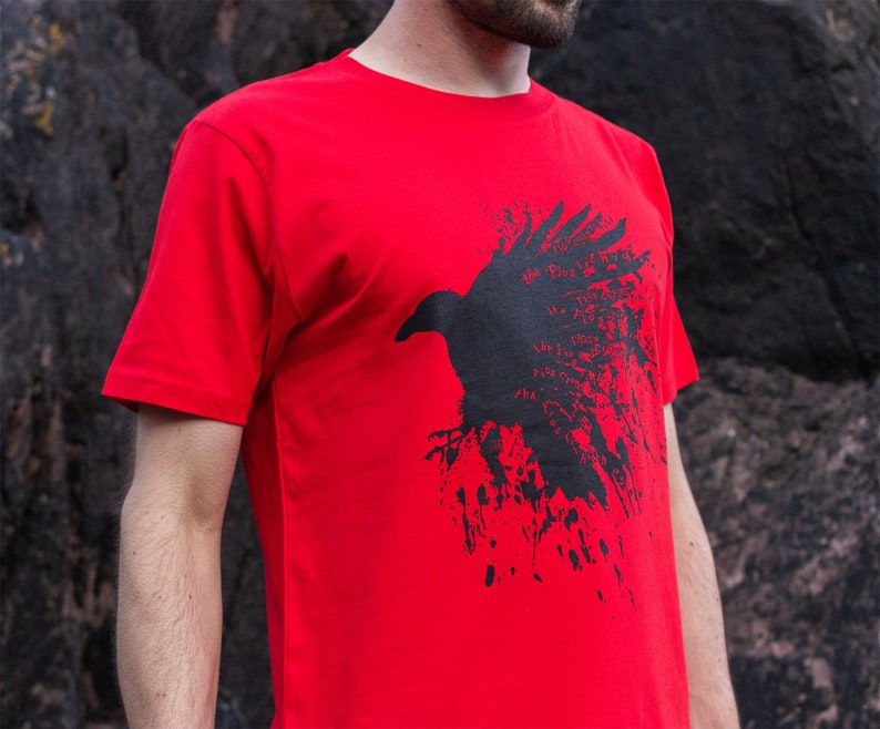Raven T-shirt in red Earth Positive organic fairtrade Mens image 0