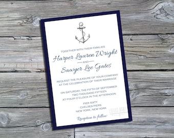 Nautical Wedding Invitation - DIY, Printable, Navy and White
