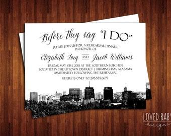 Birmingham, Alabama Skyline Invitation, Steel City Skyline Invitation - DIY, Printable, Rehearsal Dinner, Save the Date, Wedding Shower