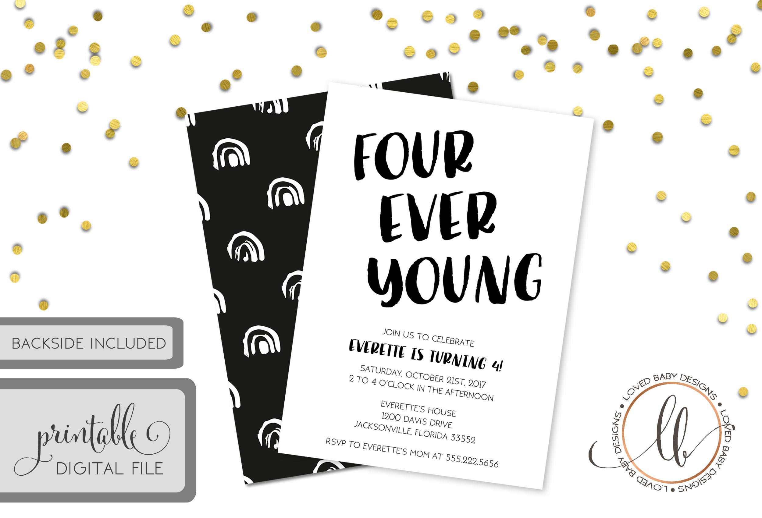 Four Ever Young Invitation Fourth Birthday 4th