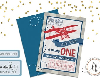 Vintage Airplane Birthday Invitation - DIY, Printable