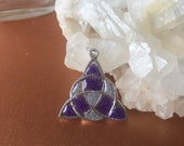Triquerta Pendant with a Stained Glass Look very unique piece Purple and Silver