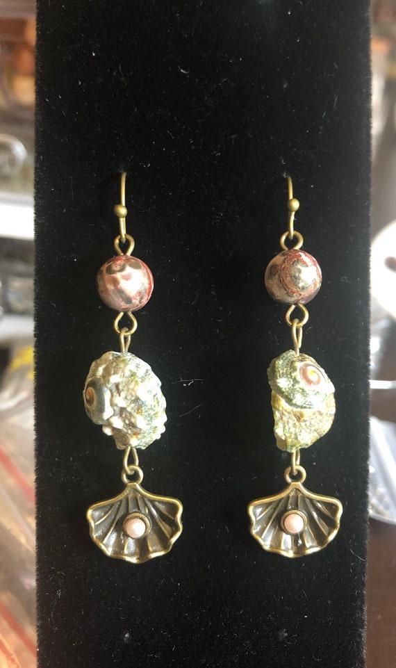7.00 Water Element Natural Ocean Seashells and Agate Stones earrings
