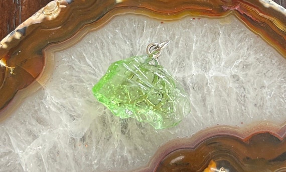 Green Andara Andarian Liquid Light Crystal Pendant Heart Chakra Trinity