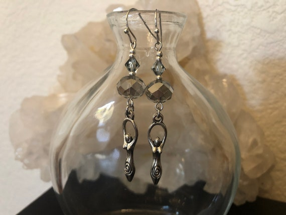 Spiral Goddess Silver color with faceted Crystals Wicca Pagan earrings