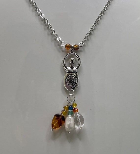 Goddess Spiral Necklace with natural stones Wicca Pagan