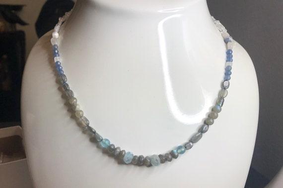 Labradorite Aquamarine Sapphire Quartz and Sodalite all Natural Throat Chakra Necklace