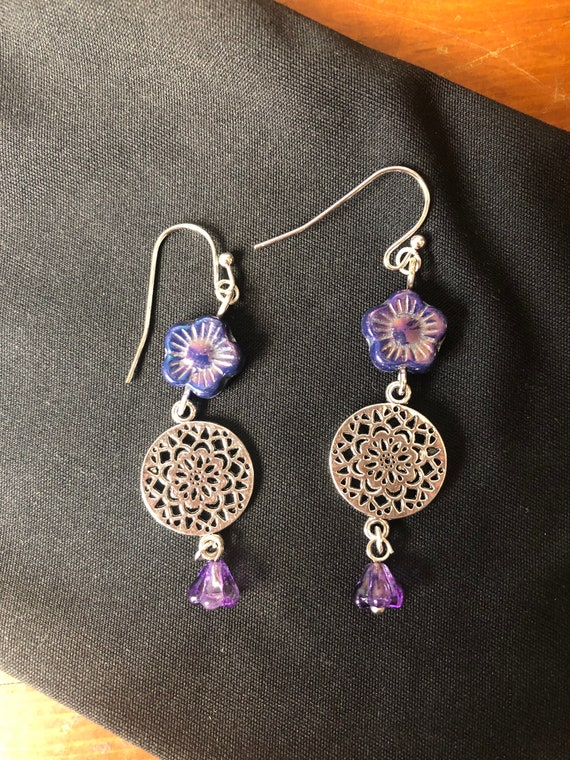 Yoga Meditation Flower Blue Violet Purple earrings