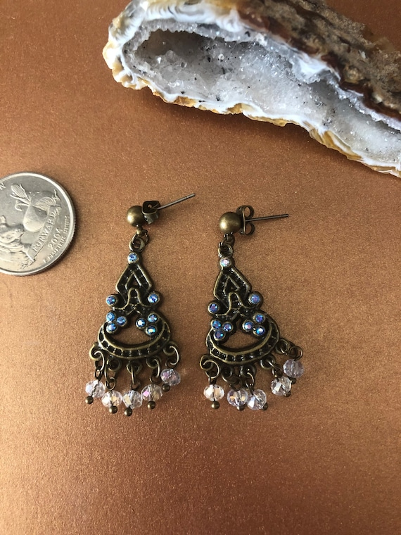 Bronze color Chandelier Earrings with Swarovski Crystals