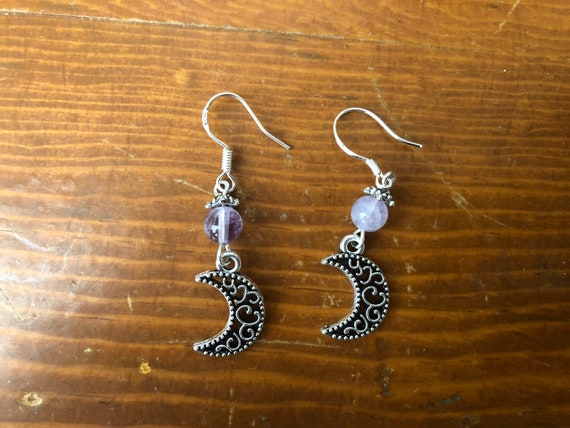 Moon and Amethyst Wicca Pagan earrings