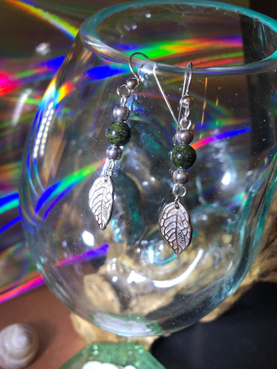 Sterling Silver and Tree Agate Earrings with a cute SS Leaf
