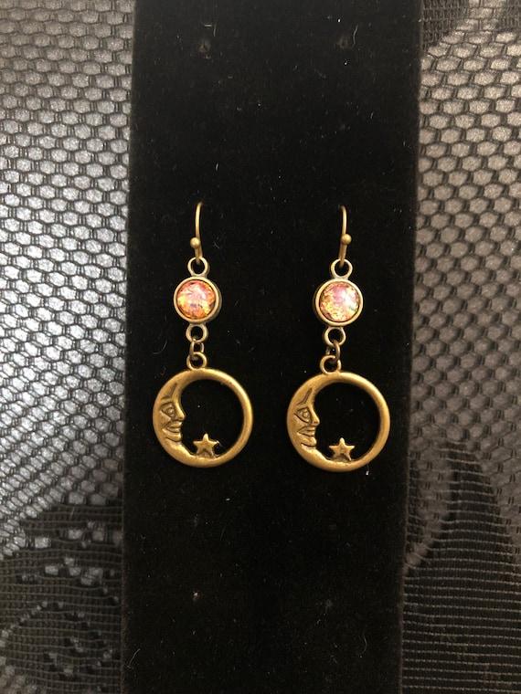 Bronze Moon earrings with Beautiful Mystical Earrings