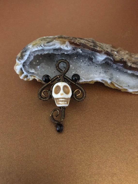 Skull Halloween Bronze Wrap Pendant