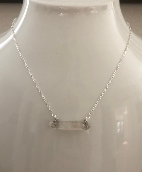 Double Point Clear Quartz Crystal Necklace with tiny Skulls